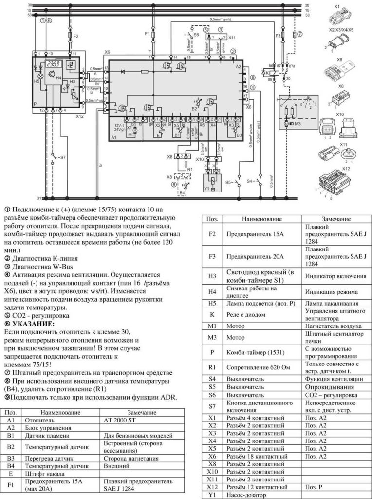 Рис. 703 Схема подключения отопителей (12/24 В) с комби-таймером и подключением к штатному вентилятору а/м.