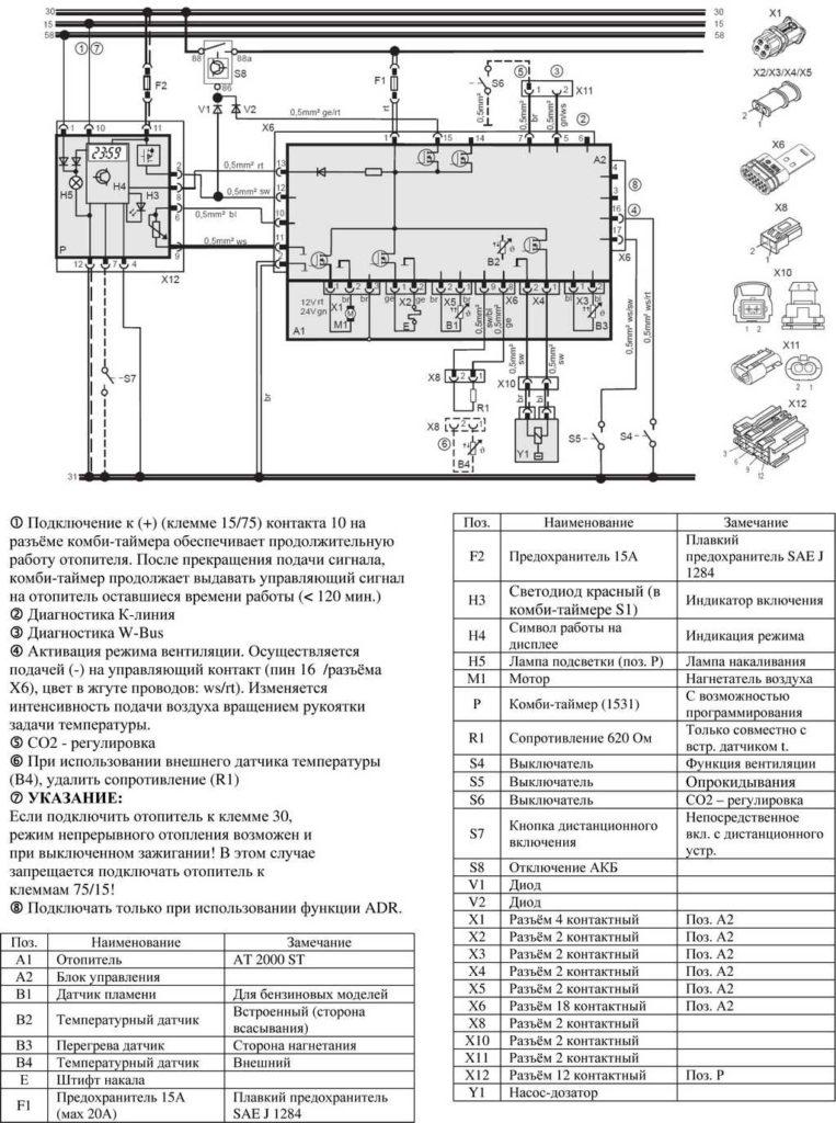 Рис. 704 Электросхема подключения отопителей (12/24 В) с комби-таймером и отключением АКБ.