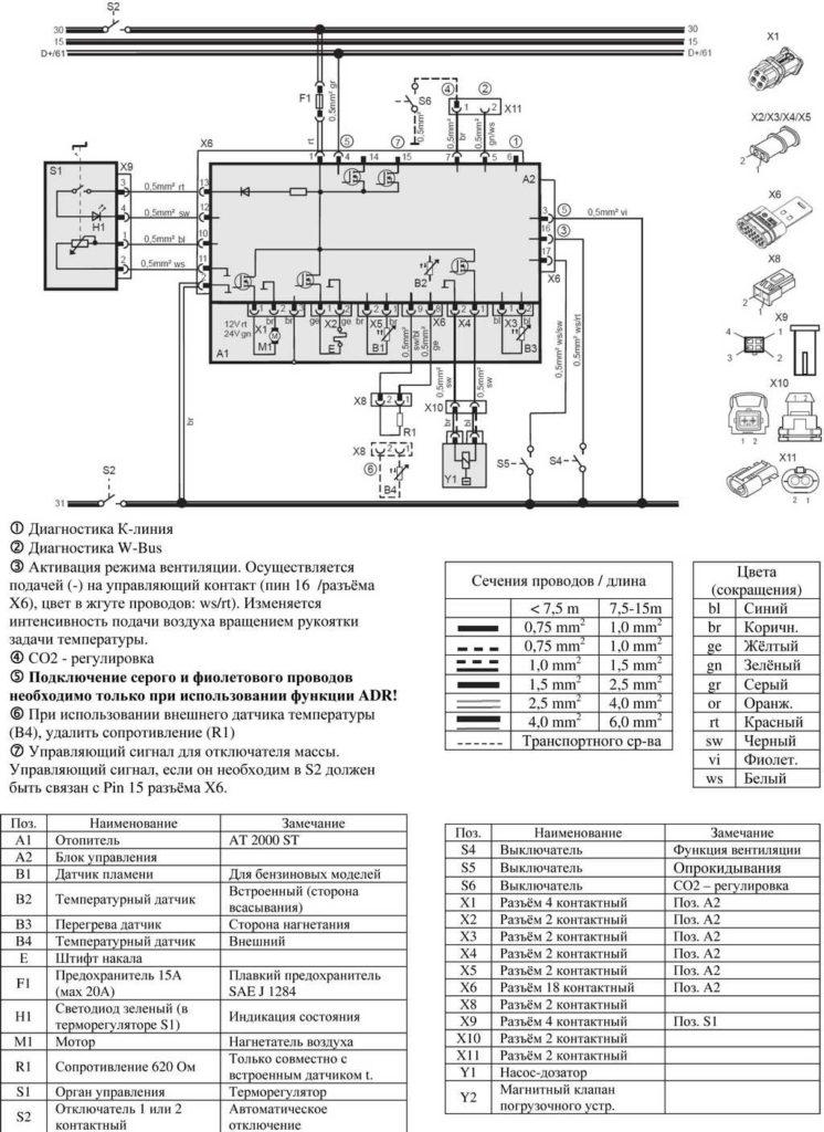 Рис. 706 Электросхема подключения отопителей (12/24 В, дизель) с терморегулятором.