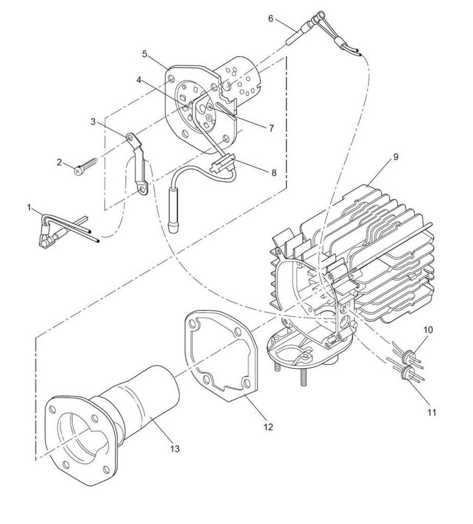 Рис. 903 Замена горелки, штифта накаливания, датчика пламени, жаровой трубы и теплообменника.