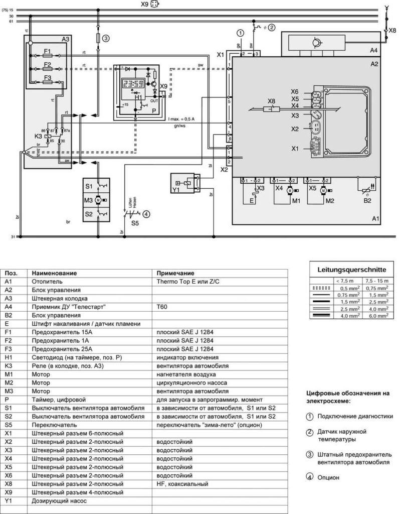 Рис. 702 Электросхема Thermo Top E и C, 12 В, с таймером и системой дистанционного управления Телестарт T60