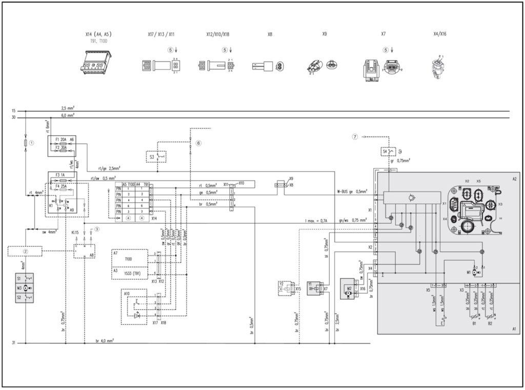 Рис. 701 Электрическая схема подключения Thermo Top Evo и таймера 12В