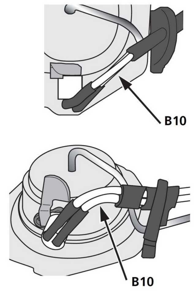 Рис. 915 Расположение кабеля штифта накала с небольшим изгибом