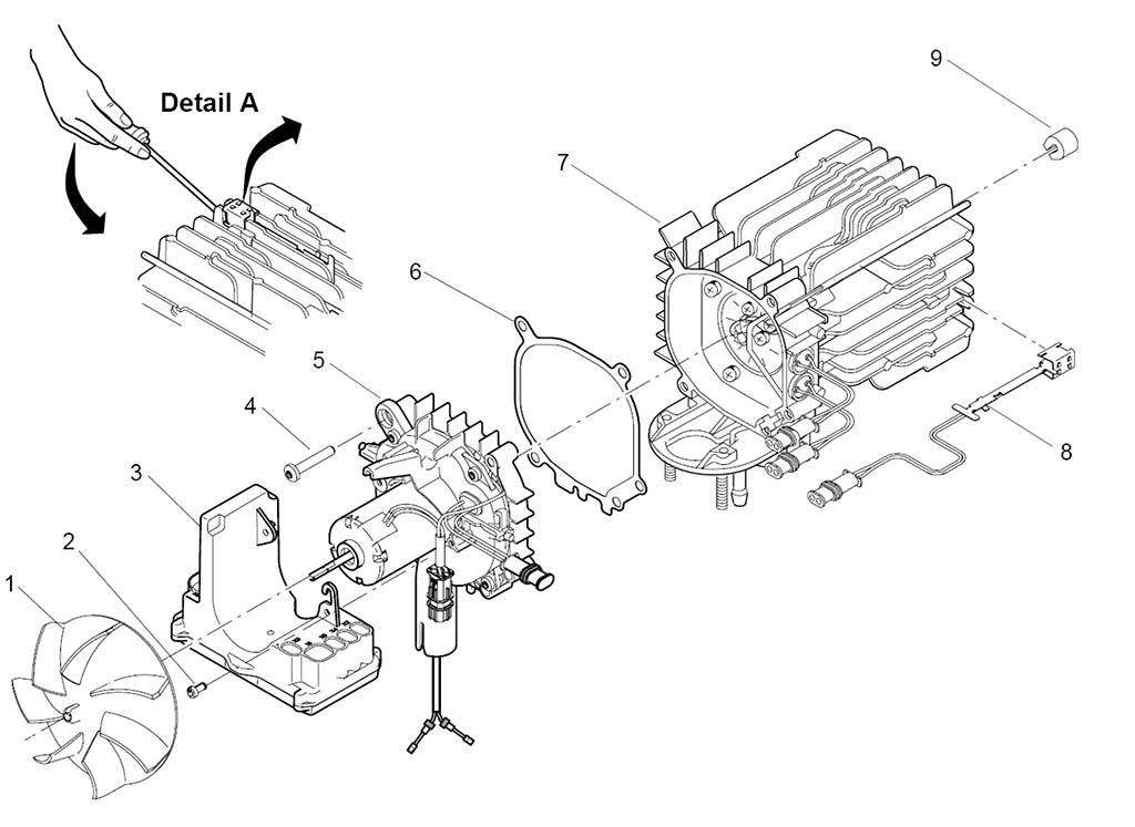 Разборка отопителя Замена блока управления, датчика перегрева и нагнетателя воздуха AT 2000ST