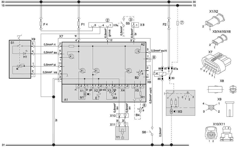Схема подключения отопителей (12/24 В) с терморегулятором и подключением к штатному вентилятору а\м