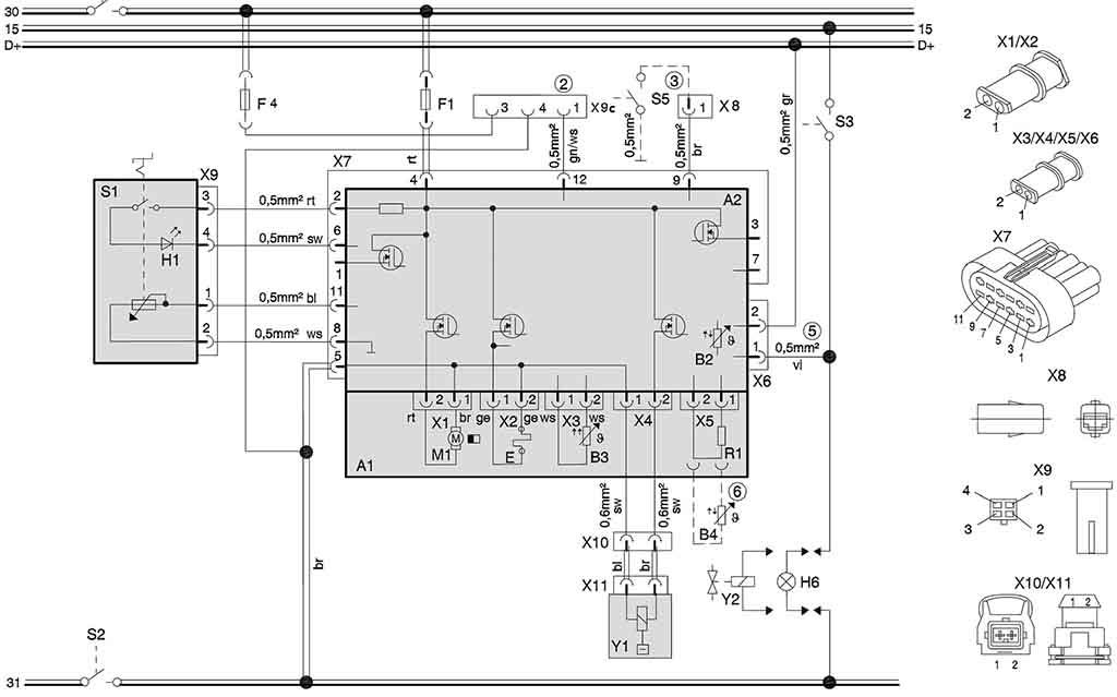 Схема подключения отопителей (24 В) с терморегулятором, на автомобилях для перевозки опасных грузов.