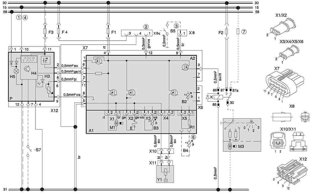 Электросхема подключения отопителей (12/24 В) с комби-таймером и подключением к штатному вентилятору а\м