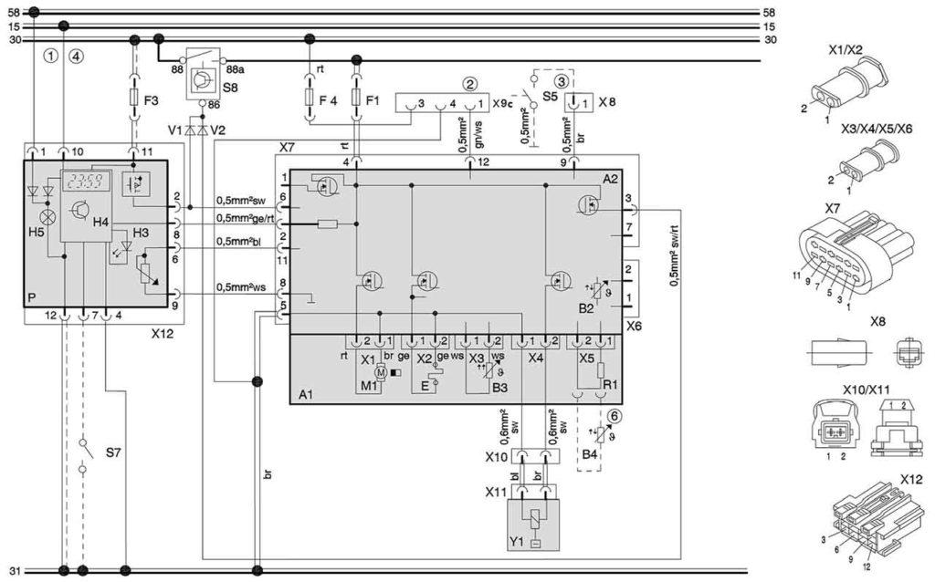 Электросхема подключения отопителей (12/24 В, дизель) с комби-таймером. (акб с электровыключателем)