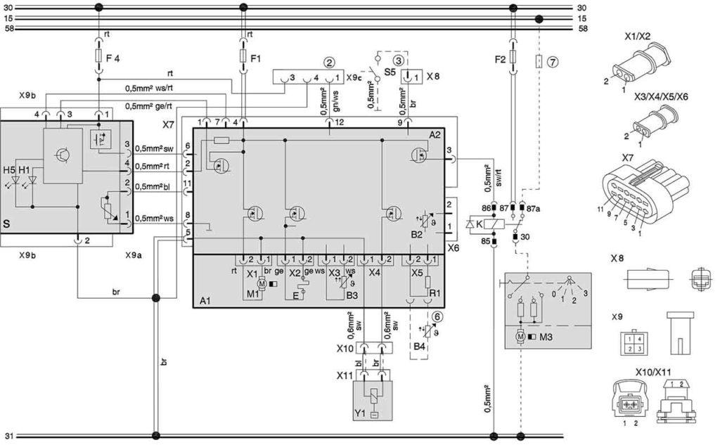 Электросхема подключения отопителей (12/24 В, дизель) с панелью управления МС04/05. И подключением к штатному вентилятору а\м
