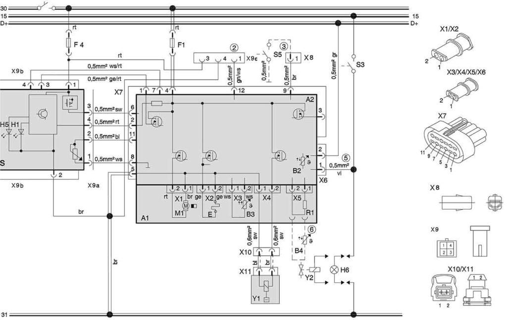 Электросхема подключения отопителей (24 В, дизель) с панелью управления МС04/05, на автомобилях для перевозки опасных грузов.